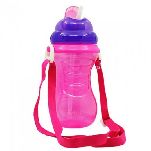 Nuby Flip-It Straw Cup With Strap - Purple, 420ml