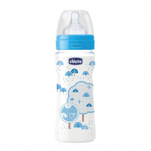 زجاجة رضاعة ذات حلمة مطاطية و تدفق عالي 330 مل للأولاد من تشيكو - باللون الأزرق