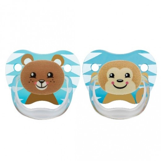 Dr. Brown's 2 Pack Prevent Orthodontic Bear-Monkey Pacifier with Clip -(6-12 Motnhs)