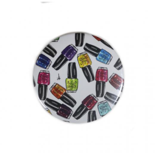 YM Sketch-Nail Polish Button Pin