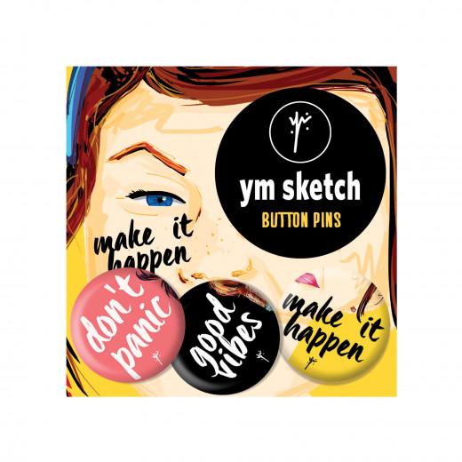 3 Ymsketch Button Pin - 6