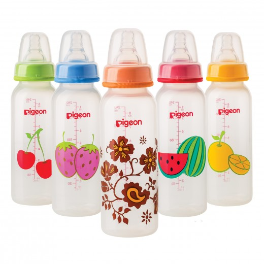Pigeon Decorated Bottle - (Slim Neck)  240ml Fruits 1 PC