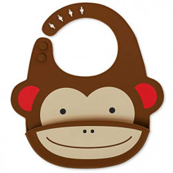 SkipHop Zoo Fold and Go Silicone Bib - Monkey