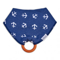 Dr. Brown's Bandana Bib with snap on Teether, 1-Pack, Anchors (Blue with Orange Teether)