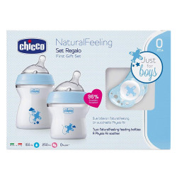 Chicco Natural Baby Feeling 2-Piece Bottle With Teether Gift Set , Blue