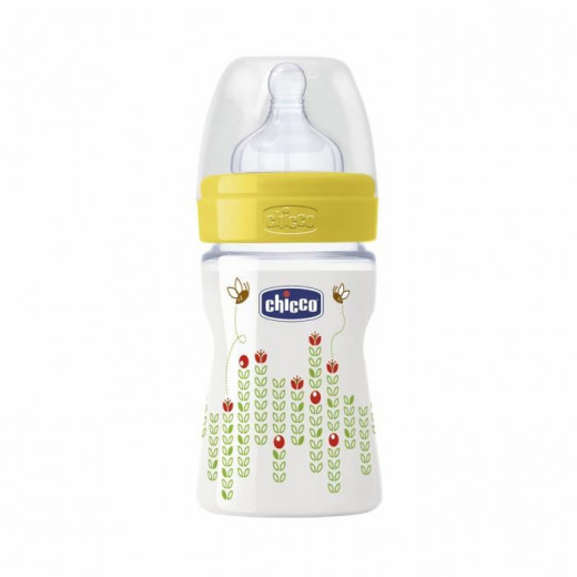 Chicco Wellbeing 150ml Glass Baby Bottle, Silicone Teat