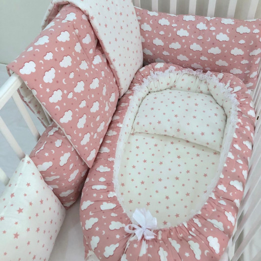 Anett Newborn Baby Bedding Set, Clouds, Pink