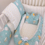 Anett Newborn Baby Bedding Set, ِAirships - Blue