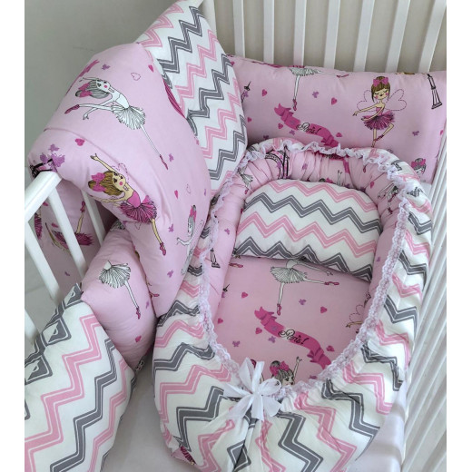 Anett Newborn Baby Bedding Set, Ballerina with Chevron Pattern, Pink & Grey