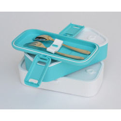 Look Back Lunch Box for Kids Adults, 2 layers, Leak Proof, FDA Approved - Blue