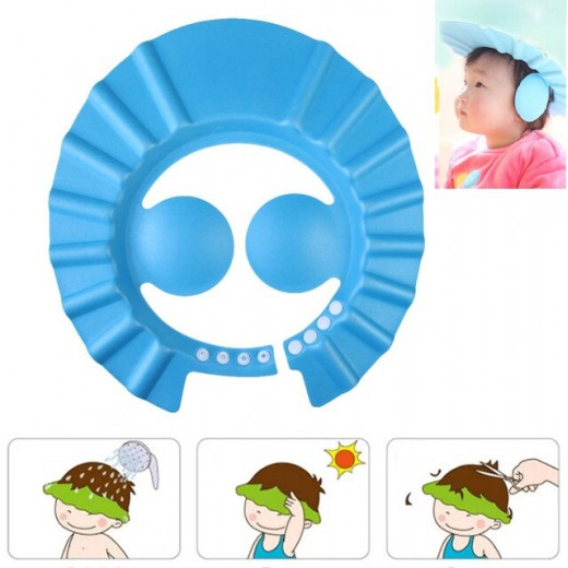 Adjustable Baby Shower Head Protector, Foam - Blue