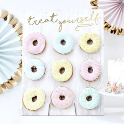 Ginger Ray PM-375 Gold Treat Yourself Donut Wall Birthday Cake Party Alternative - Doughnut Wall - Pick & Mix