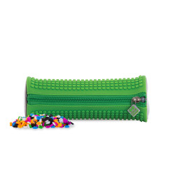 Pixie Rounded Pencil Case, Green/Green