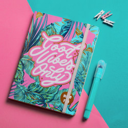 Mofakera Good Vibes  Notebook With Rubber Band A5 Size