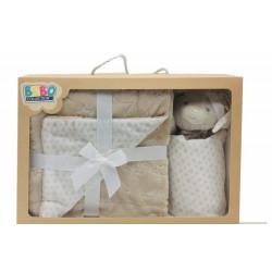 NOVA Doudou W/Blanket Bear 075x100CM Beige