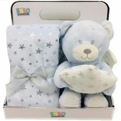 NOVA Blanket With Toy-Single - Bear 75x75CM - Blue
