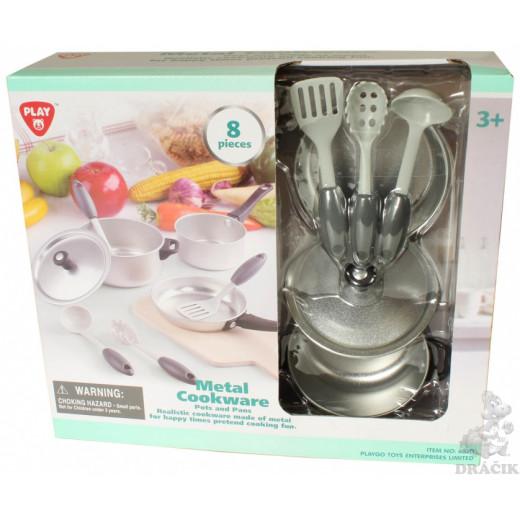 PlayGo Pots And Pans - 8 PCS (Metal  Cookware)