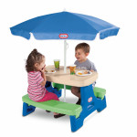 Little Tikes Easy Store  Jr. Play Table with Umbrella - Blue\Green