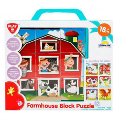 Playgo 9 Piece Farmhouse Block Puzzle