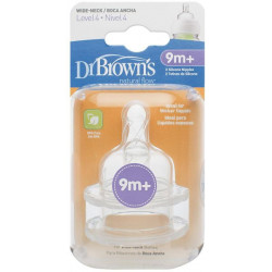 """Dr Brown's Level 4 Silicone Wide-Neck """"Options"""" Nipple, 2-Pack"""