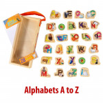 QISIWEI 28 Piece Wooden Magnetic Cutout Stickers, English Letters