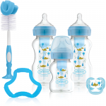 مجموعة هدايا دكتور براون + زجاجات مضادة للمغص للأطفال ، أزرق