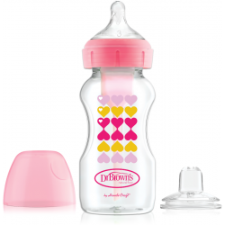 Dr. Brown's 270 ml Wide-Neck Options+ Transition Bottle w/ Sippy Spout Nipple, Pink