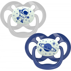 Dr. Brown's Advantage Pacifier - Stage 2, Glow in the Dark, 2-Pack, Blue