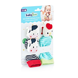 Babyjem Wrist Rattle & Baby Socks Cow & Chicken