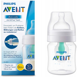 Philips Avent Anti Colic Bottle with Airfree Valve, 125 ml, Pack of 1, Clear