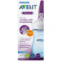 Philips Avent Natural Baby Bottle 260 ml single, Blue