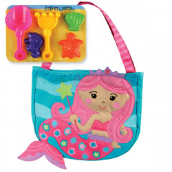 Stephen Joseph Beach Totes with Sand Toy Play Set, Mermaid Teal