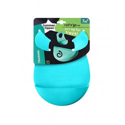 Tommee Tippee Roll 'n' Go Bib Rolls Up for Travel 7m+, Light Blue