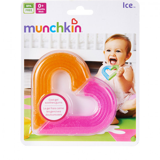 Munchkin Ice Heart Gel Teether - Pink & Orange