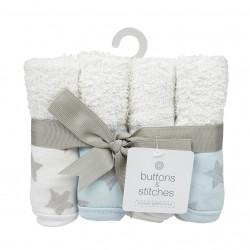 4 Pack Star Print Washcloth