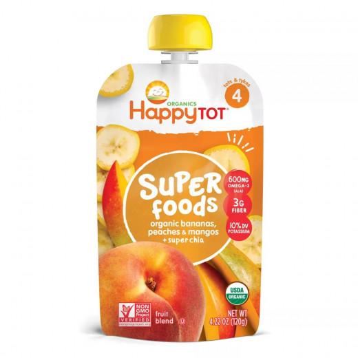 طعام الأطفال المهروس العضوي, مكون من الموز, الدراق, المانجو وحبوب الشيا من هابي توت, 120 جرام