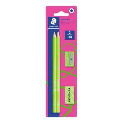 Staedtler Wopex - Graphite Pencils Neon Kit - Green, with Sharpener and Eraser