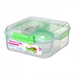 Sistema Bento Cube Box to Go with Fruit, Yogurt Pot, 1.25 L - Green