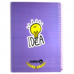 Amigo Wire Notebook, Purple, 175 page, 5 Subjects