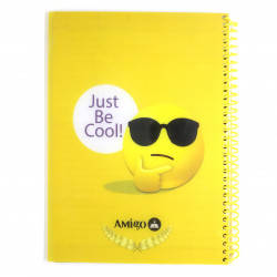 Amigo Just be Cool Wire Notebook, Yellow, 140 page, 4 Subjects