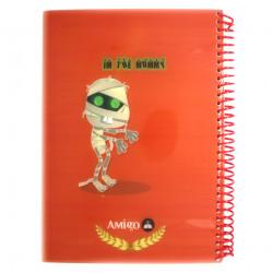 دفتر ملاحظات مع سلك بتصميم المومياء اللون الأحمر من أميجو:70 صفحة,2 أقسام