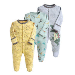 Colorland Long-Sleeve Baby Overall 3 Pieces In One Pack 3-6 Months, Dinosaurs