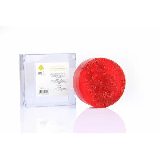 Iris Glycerin Soap with Natural Luffa 200g, Red