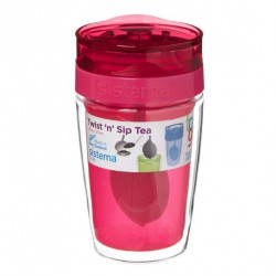 Sistema Twist Sip Tea To Go Travel Mug With Filter, Red