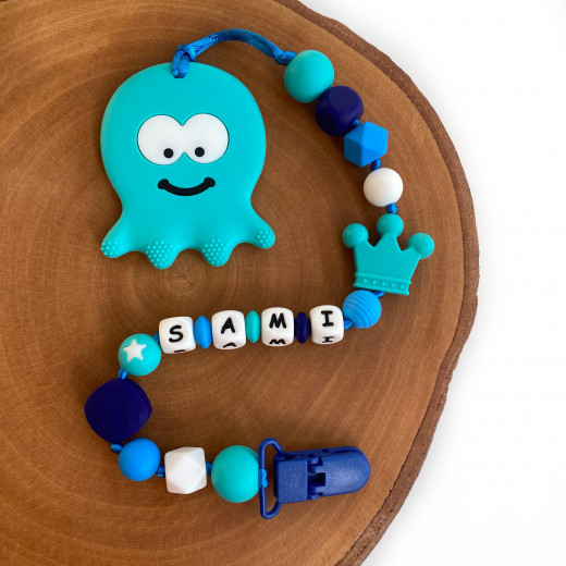 Munch Monsters Personalized Pacifier & Teether Clip, Turquoise Octopus