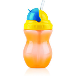 Nuby Flip-it Leakproof Straw Bottle (320ml), Orange