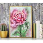 مطبوعات فنية جدارية بإطار خشبي مزخرف للغاية ، زهور مائية ، A3