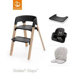Stokke® Steps Oak Wood Chair, Cushion, Black Baby Set & Tray - Black