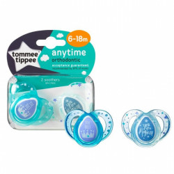 Tommee Tippee Closer to Nature Any Time Soothers 2 Pacifiers, 6-18 months