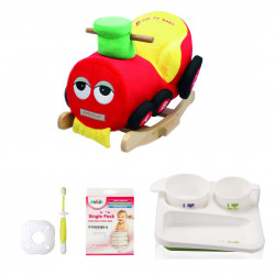 Farlin Package - ( aBaby - Baby Train + Farlin PE-PA Plate + Farlin Cotton Buds 50 pcs + Farlin Training Toothbrush Stage 3)